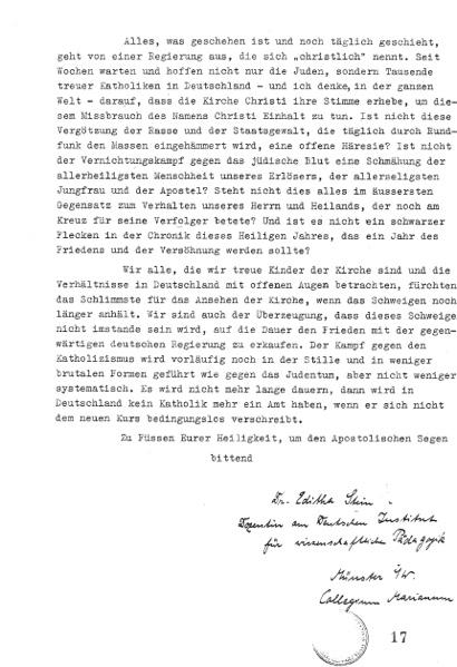 Edith Stein Brief