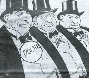 Karikatur aus der antisemitischen Zeitschrift Junges Kroatien von 1936. Aus: Ognjen Kraus (Hg.), Zna li se 1941-1945. Antisemitizam, Holokaust, Antifašizam, Zagreb 1995.