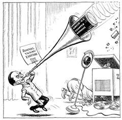 Alliierte Karikatur zu Goebbels' Propaganda im Krieg