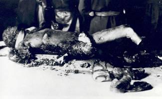 Die verkohlte Leiche von Joseph Goebbels