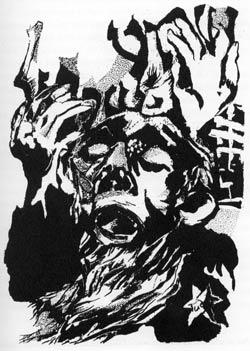 Joseph Süß auf dem Weg zum Galgen. Im Hintergrund hebräische Buchstaben, die das Glaubensbekenntnis bedeuten: schma jisrael. Zeichnung von Jona Mach, Jerusalem. Illustration zu Haasis: Joseph Süß Oppenheimers Rache.