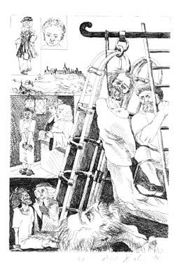 Links oben Süß und seine Freundin Luciana Fischer. Darunter die Festung Hohenasperg, der Haftort. Unten der in der Todeszelle auf den Abtransport wartende Süß, der die letzte Nacht in asketischer Absicht auf dem nackten Boden. (der Bilderbogen folgt der Erzählung: Haasis: Joseph Süß Oppenheimers Rache.