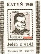 Fiktive Katyń Briefmarke von Solidarność