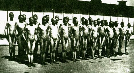 """""""Apell"""" russischer Jugen im KZ Mauthausen."""