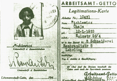 Legitimationskarte des Getto-Arbeitsamtes