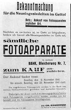 Bekanntmachung Rumkowskis über den Ankauf von Fotoapparaten.