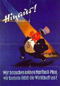 Plakat gegen den Marshall-Plan, erlassen durch Stalin für Ostdeutschland. Quelle: NRW Staatsarchiv.
