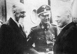 General Leon Rupnik (1880-1946), SS-General Erwin Rösener (1902-1946) und Bischof Gregorij Rožman (1883-1959)