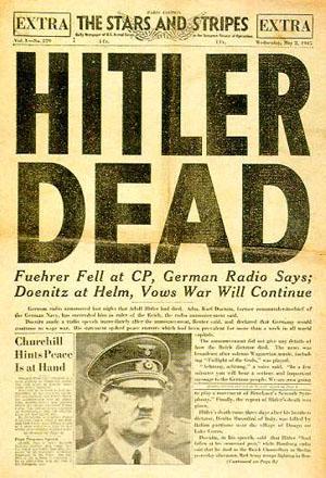 Schlagzeile in Stars and Stripes, der Zeitung der US-Streitkräfte, nach Hitlers Tod