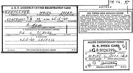 Ausweise und Notizen aus dem Jahre 1945